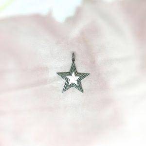 Diamond Oxidised Silver Enamelled Star Pendant